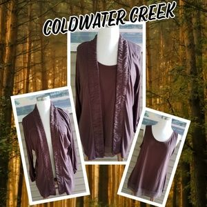 Coldwater creek chocolate open cardigan and tank